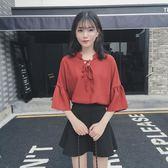 夏季韓版復古V領繫帶喇叭袖寬鬆百搭純色中袖雪紡衫女學生上衣潮     韓小姐