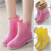 春秋雨鞋中筒雨靴女士夏短筒防滑水靴保暖加絨膠鞋套鞋時尚防水鞋    9號潮人館