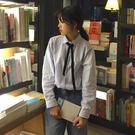學院風春秋新款韓版少女娃娃領綁帶條紋襯衣寬鬆長袖襯衫學生上衣『摩登大道』