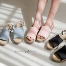 MIUSTAR 小流蘇布面後拉帶厚底涼鞋(共3色,23-25)【NJ1187ZP】預購