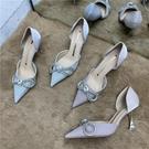 高跟鞋細跟晚禮服ins仙女風2021新款中跟水鉆蝴蝶結淑女伴娘單鞋 快速出貨