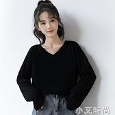 2020秋季新款黑色V領T恤女寬松黑上衣學生春秋韓版純棉長袖打底衫 小艾新品