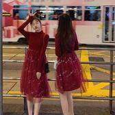 小紅裙拜年小紅裙過年仙女裙女裝閨蜜裝新年衣服大紅色連身裙本命女秋冬 春季新品