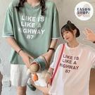 EASON SHOP(GQ1552)實拍假兩件撞色字母數字印花落肩寬鬆圓領五分短袖素色棉T恤女上衣服彈力舒適遮肉