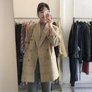Qmigirl 復古格紋 雙排扣寬鬆毛料西裝外套【T2254】