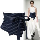 潮流時尚打結系繩綁帶腰封女寬裝飾長襯衫連身裙子腰帶條紋【蘇迪蔓】