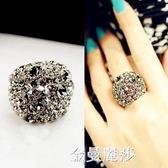 韓國飾品時尚個性夸張大氣水晶鑚戒灰色食指戒 簡約滿鑚戒環 女 交換禮物