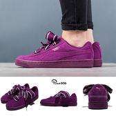 Puma 休閒鞋 Suede Heart Satin II Wns 紫 麂皮 緞帶鞋 大蝴蝶結 女鞋【PUMP306】 36408402