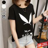 兔耳印花圓領T恤(2色)M~2XL【489199W】【現+預】☆流行前線☆