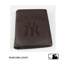 Backbager 背包族【MLB 美國大聯盟 洋基】直式 皮件 名片夾/皮夾/短夾/錢包-咖啡色
