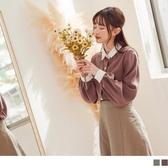 《AB14320-》法式寶石釦配色翻領小拋袖襯衫/上衣 OB嚴選