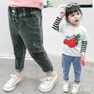 女童牛仔褲夏裝洋氣兒童外穿哈倫褲長褲1-3歲寬鬆男寶寶老爹褲子潮 yu13102『寶貝兒童裝』
