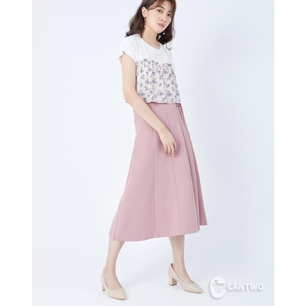 【南紡購物中心】CANTWO純色側腰綁帶長裙-二色