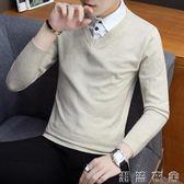 假兩件男秋冬新款襯衫領毛衣男士V領針織衫潮流青年假領上衣  潮流衣舍