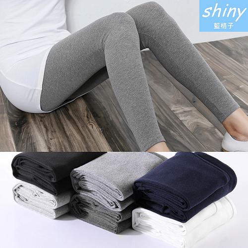 【V1997】shiny藍格子-舒感必備.純色修身高腰薄款內搭九分褲