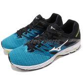 美津濃 Mizuno Wave Shadow 2 藍 黑 二代 運動鞋 雲波浪 慢跑鞋 女鞋【PUMP306】 J1GC1830-01