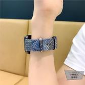 適用1/2/3/4代蘋果iwatch錶帶皮質蛇紋apple watch【小檸檬3C】