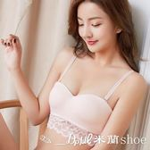✎﹏₯㎕米蘭shoe  【套裝】日系性感蕾絲半杯文胸罩無痕無鋼圈上托聚攏小胸加厚少女內衣套裝