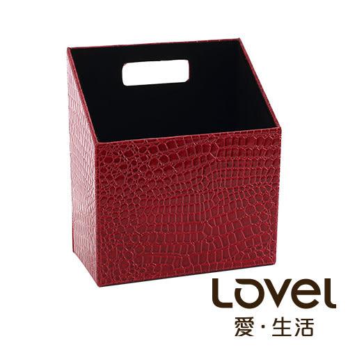 LOVEL 經典鱷魚紋皮革收納-多功能梯形雜誌盒(復古紅)