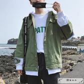 秋季新款拼接連帽牛仔外套男學生韓版潮流寬松百搭bf帥氣外穿上衣