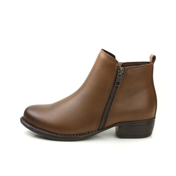 HUMAN PEACE 牛皮 拉鍊 好穿脫 短靴 靴子 咖啡色 女鞋 B6966 no320