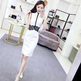 618好康鉅惠 夏季黑蕾絲顯瘦旗袍裙禮服夏無袖白色連身裙
