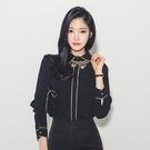 歐媛韓版 秋裝OL通勤職業氣質百搭黑色襯衣洋氣衣服時尚女韓國襯衫 上衣