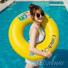 黃藍雙色 90CM 泳圈 CONCH 海貝 貝殼 英字 簡約拼色泳圈 游泳圈 度假 游泳 成人泳圈