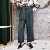 秋季設計師款小眾ins高腰男裝另類腰封chic寬鬆闊腿直筒休閒褲潮 薔薇時尚