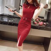 2018春裝新款修身包臀性感緊身職業中長款大碼女裝夏季連衣裙無袖 年貨慶典 限時鉅惠