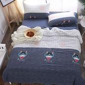 水洗舒柔雙人床包涼被組-法鬥牛仔