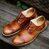 短靴真皮-繫帶輕復古擦色商務時尚男靴子2色73kk45[巴黎精品]