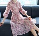 寬鬆大碼碎花雪紡洋裝連衣裙(五碼可選)