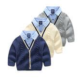 【現貨只有兩件】中小童 男童假兩件襯衫領毛衣外套 針織衫外套