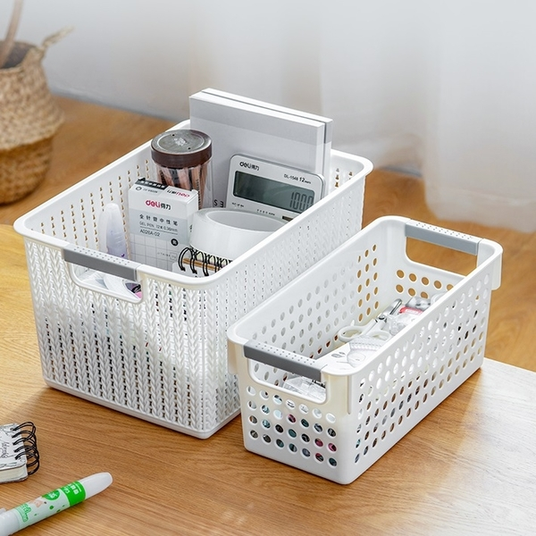 長款仿藤編收納籃 收納盒 置物籃 儲物籃 桌面收納 置物箱 整理盒 居家收納 玩具收納【RS1066】