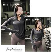 健身運動上衣女寬松速干長袖瑜伽T恤連帽罩衫【步行者戶外生活館】