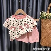 女童夏款套裝2021新款兒童洋氣時尚套裝女寶寶網休閒兩件套 快速出貨