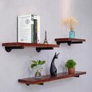 牆上置物架複古實木隔板收納壁挂一字擱板鐵藝家用牆壁酒架廚房架  快速出貨