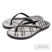 GRENDHA 海洋風結繩圖飾人字鞋-黑色/銀