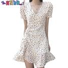 短袖洋裝 2021年新款女裝法式初戀辣妹春氣質短裙白色碎花雪紡連身裙子夏裝 新品新品