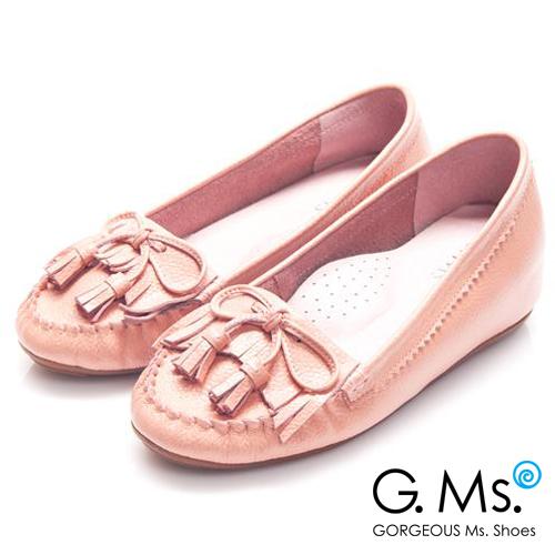 G.Ms. 流蘇蝴蝶結真皮內增高豆豆鞋*溫柔粉