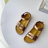 《7+1童鞋》NECKERMANN 牛皮韓版 休閒涼鞋 E185 金色