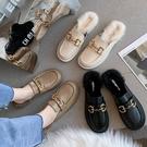 毛毛鞋 包頭半拖鞋女外穿2021秋冬新款孕婦穆勒馬銜扣樂福小皮鞋毛毛拖鞋 伊蘿