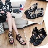 夏季涼鞋女百搭羅馬潮流夏天鞋子女生平跟新款平底學生涼鞋「時尚彩紅屋」