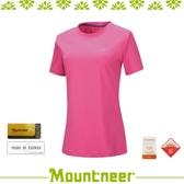 【Mountneer 女 透氣排汗抗UV上衣《桃紅》】21P58/運動上衣/T恤/休閒服/防曬