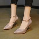 高跟鞋 一字扣帶法式高跟鞋女細跟2021春夏新款水鉆百搭婚鞋尖頭單鞋仙女 伊蘿