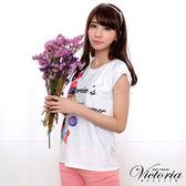 Victoria 牛奶絲氣球印花TEE-女-白色