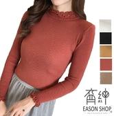 EASON SHOP(GW7852)韓版木耳花邊坑條紋短版彈力貼身套頭小高領長袖毛衣針織衫T恤女上衣服打底內搭衫
