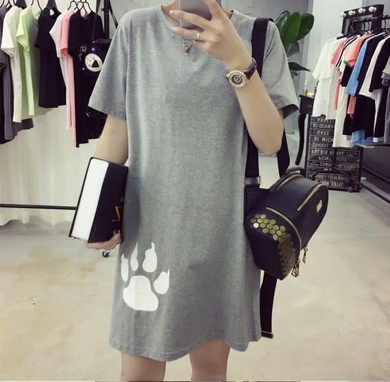 EASON SHOP(GU5176)背後卡通熊印花中長款圓領短袖T恤裙洋裝連身裙長版長款女上衣素色白棉T韓版寬鬆