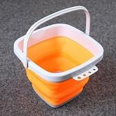 摺疊水桶(5公升)-加厚便攜釣魚餌料可洗車用2色73pp93[時尚巴黎]